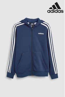 adidas Navy Essential 3 Stripe Zip Through Hoody