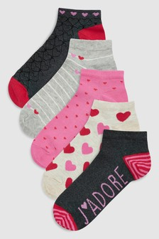 Valentines Trainer Socks Five Pack