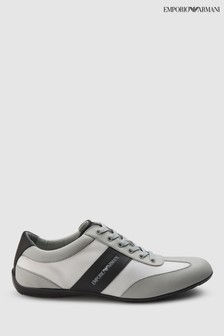 Emporio Armani White Leather Trainer