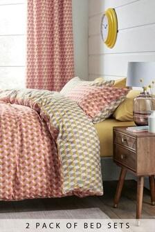 2 Pack Multi Dot Duvet Cover And Pillowcase Set