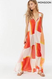 Monsoon Ladies Pink Selene Block Print Dress