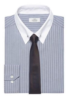 Stripe Regular Fit Single Cuff White Contrast Pin Collar Shirt And Tie Set