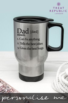 Personalised Definition Of Dad Silver Travel Mug by Treat Republic