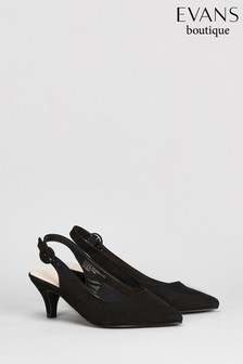 Evans Black Extra Wide Fit Slingback Kitten Court