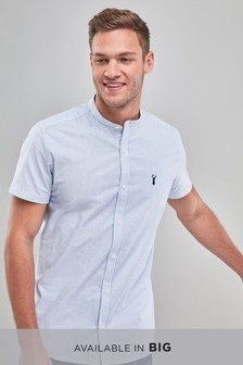 Short Sleeve Grandad Collar Stretch Oxford Shirt