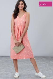 Joules Orange Zoey Sleeveless Woven Dress