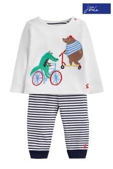 סט מכנס וטופ ג'רזי עם חיות של Joules בצבעי כחול ולבן