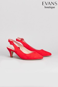 Evans Red Extra Wide Fit Slingback Kitten Court