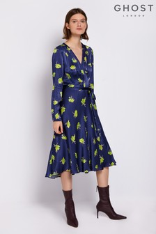 Ghost London Blue Orla Printed Floral Satin Wrap Dress