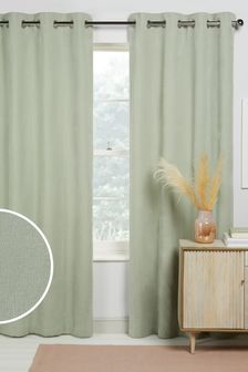 Sage Green Soft Velour Eyelet Lined Curtains