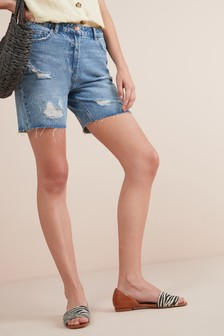 Longline Denim Shorts