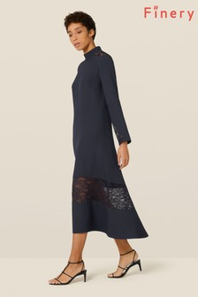 Finery London Blue Beladonia Lace Trim Dress