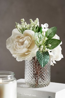 Artificial Floral In Pressed Jar