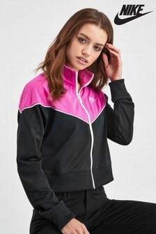 Nike Heritage Black/Pink Colourblock Track Top