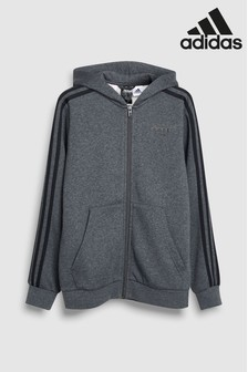 adidas Charcoal Essential 3 Stripe Zip Through Hoody