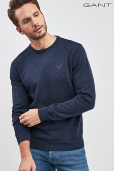 8faa14e99 GANT Lightweight Denim Blue Cotton Crew Knit