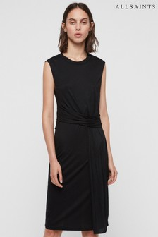 AllSaints Black Limera Drape Dress
