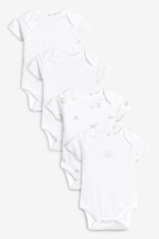 Delicate Multi Print Short Sleeve Bodysuits Four Pack (0mths-3yrs)