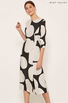 Mint Velvet Black Alicia Print Cupro Midi Dress
