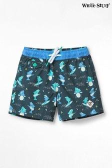 White Stuff Blue Kids Shark Print Swim Shorts