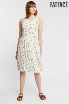 FatFace Natural Karen Check Ditsy Dress