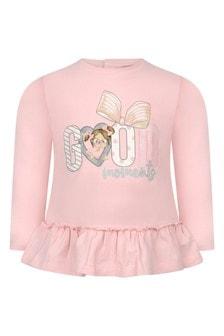 Baby Girls Pink Cotton Jersey Long Sleeve T-Shirt