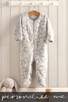 Personalised Fleeced Stars Sleepsuit