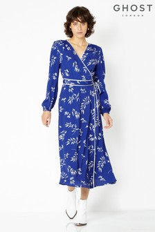 Ghost London Blue Printed Tasmin Wrap Dress