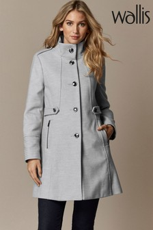 Wallis Petite Grey Funnel Coat