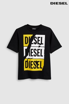 Diesel® Kids Boys Tjustzc Black Logo T-Shirt