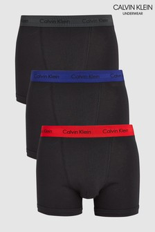 Calvin Klein Black Cotton Stretch Trunks Three Pack