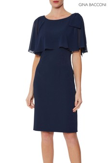 Gina Bacconi Blue Krissy Crepe And Chiffon Dress