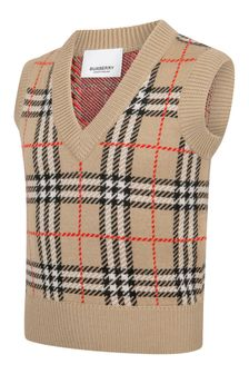 Boys Beige Vintage Check Wool Slipover Jumper