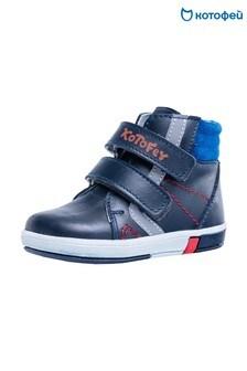 Темно-синие кожане кроссовки на двух липучках Kotofey