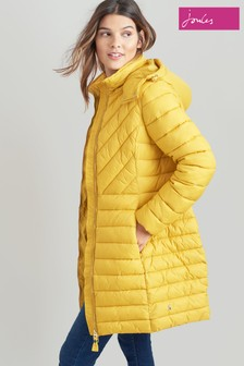 Joules Gold Elodie Long Quilted Jacket