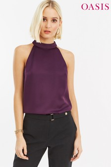 Oasis Purple Satin Crepe Halter Neck Top