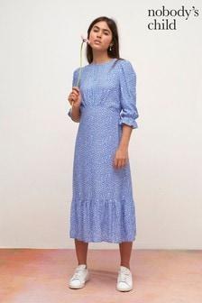 Nobody's Child Blue Acacia Print Midi Dress