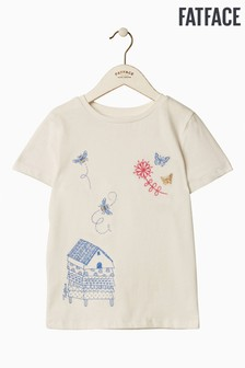 FatFace T-Shirt mit Bienenkorb-Grafik, naturfarben
