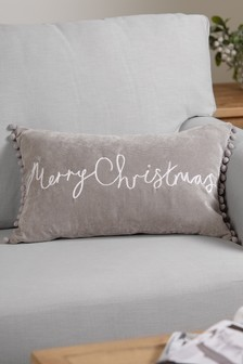 Merry Christmas Soft Velour Pom Edge Cushion