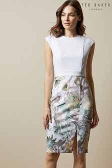 Ted Baker White Hanalee Woodland Bodycon Dress