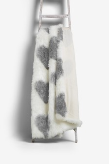 Faux Fur Heart Throw