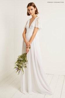 French Connection White Linen Embellished V-Neck Dress