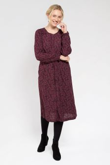 FatFace Dark Plum Kitty Artisan Floral Midi Dress