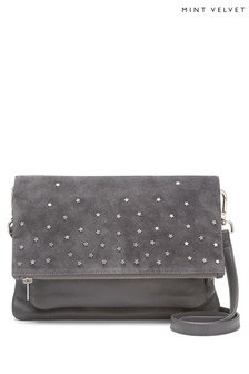 Mint Velvet Grey Hope Star Studded Cross Body Bag