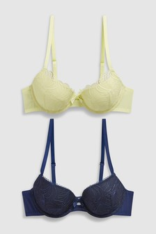 Emily Push-Up Embroidered Balcony Bras Two Pack