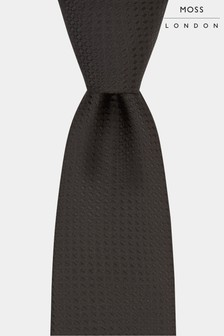 Moss London Black Textured Tie