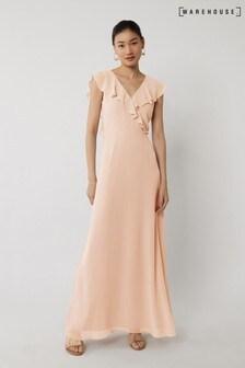 Warehouse Pink Frill Wrap Bridesmaid Dress