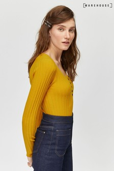 Warehouse Yellow Stitchy Button Detail Jumper