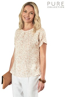 Pure Collection Pink Laundered Linen Gathered Sleeve Top