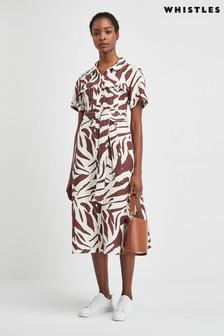 Sukienka koszulowa Whistles z grafiką pasków zebry